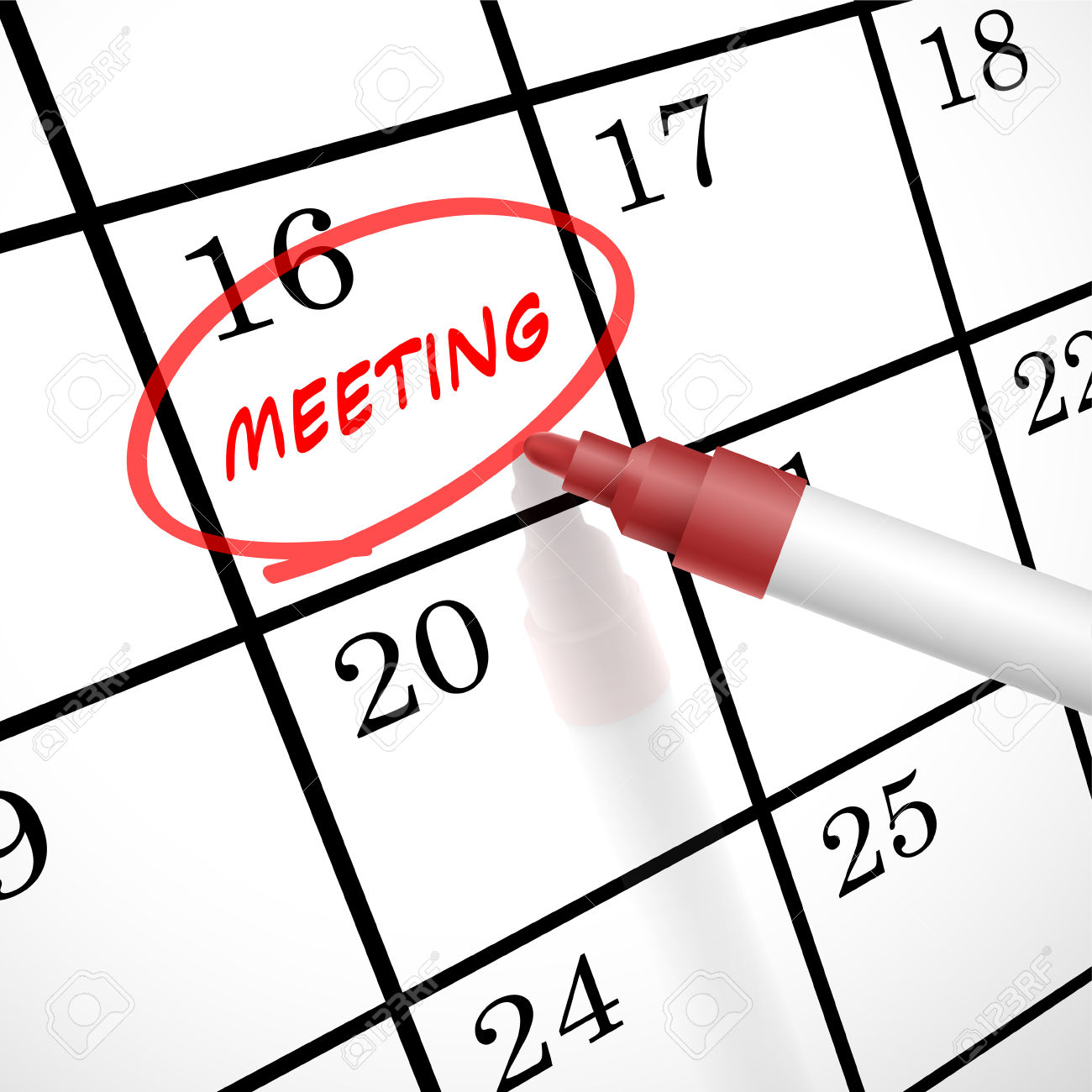 meeting word circle marked on a calendar